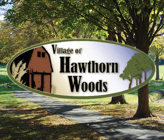 Village of Hawthorn Woods Logo with Trees and Trail
